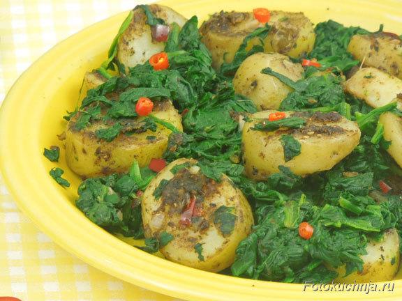 Картофель со шпинатом