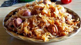 Как приготовить тушеную капусту с сосисками