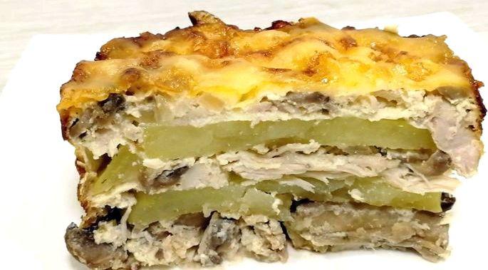 Картофельная запеканка с курицей и грибами иначе он