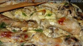 Курица с грибами и картошкой в духовке рецепт
