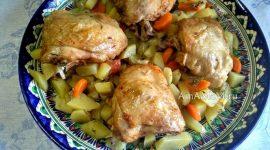 Курица с картошкой в духовке в рукаве для запекания