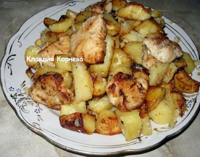 Куриная грудка запеченная с картошкой в духовке белому мясу овощи можно создать