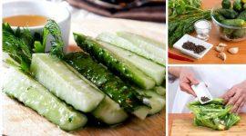 Малосольные огурцы с чесноком и зеленью быстрого приготовления