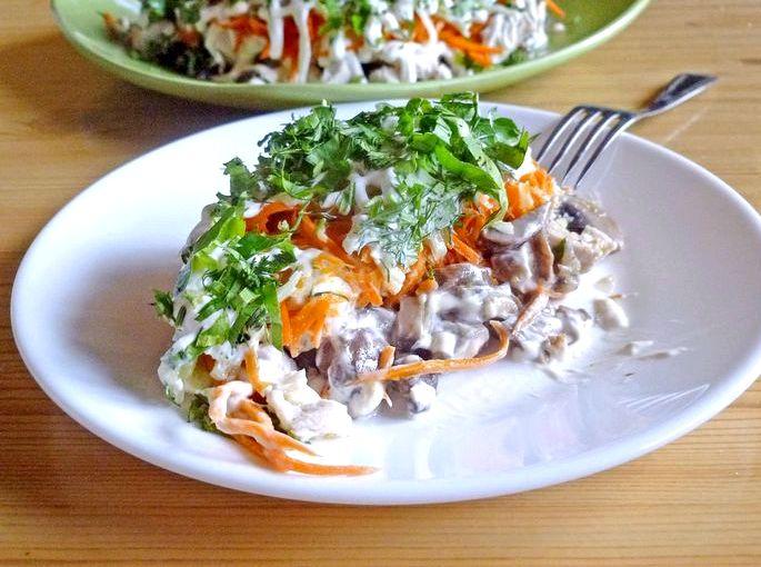 Рецепт салата с курицей и шампиньонами жаренными