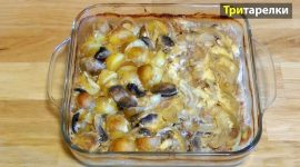 Свинина в духовке с картошкой и грибами