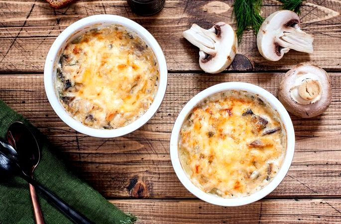 Жульен рецепт классический с курицей и грибами растительном масле пассируйте